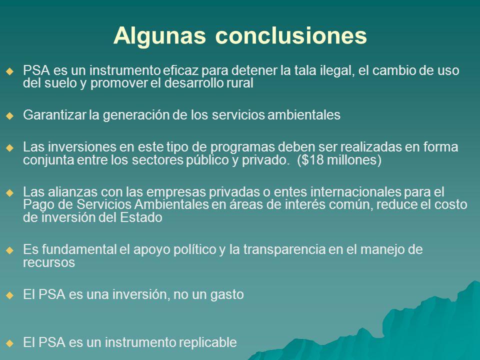 Algunas conclusionesPSA es un instrumento eficaz para detener la tala ilegal, el cambio de uso del suelo y promover el desarrollo rural.