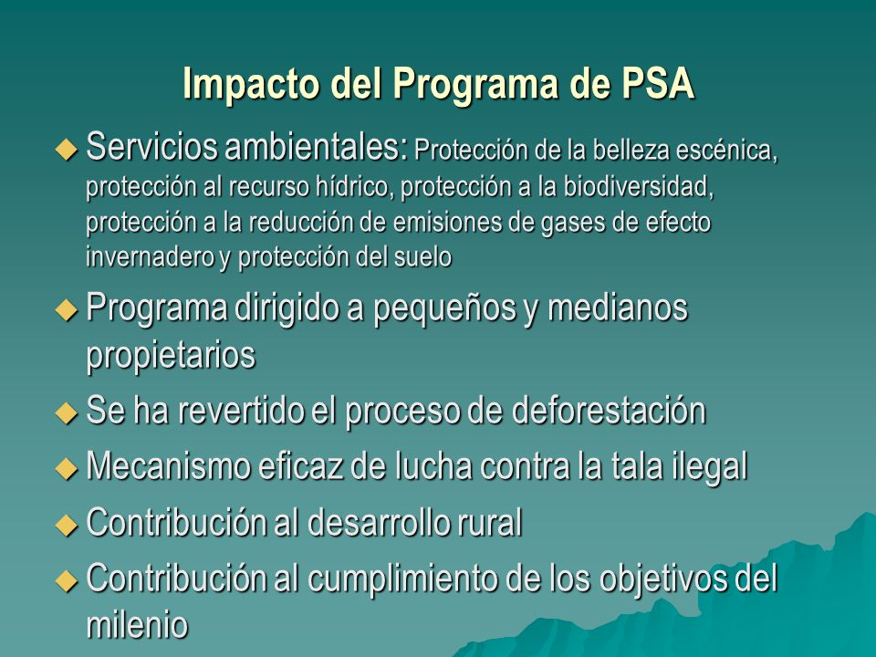 Impacto del Programa de PSA