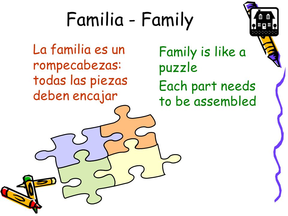 Familia - Family La familia es un rompecabezas: todas las piezas deben encajar. Family is like a puzzle.