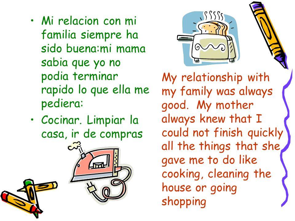 Mi relacion con mi familia siempre ha sido buena:mi mama sabia que yo no podia terminar rapido lo que ella me pediera: