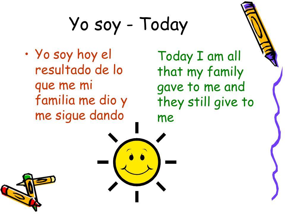 Yo soy - Today Yo soy hoy el resultado de lo que me mi familia me dio y me sigue dando.