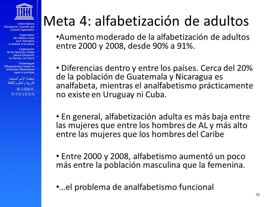Meta 4: alfabetización de adultos