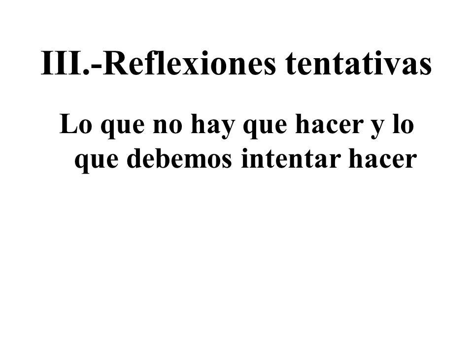 III.-Reflexiones tentativas