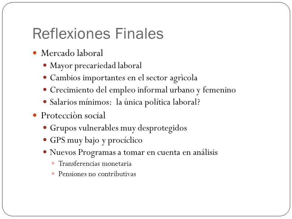 Reflexiones Finales Mercado laboral Protecciòn social