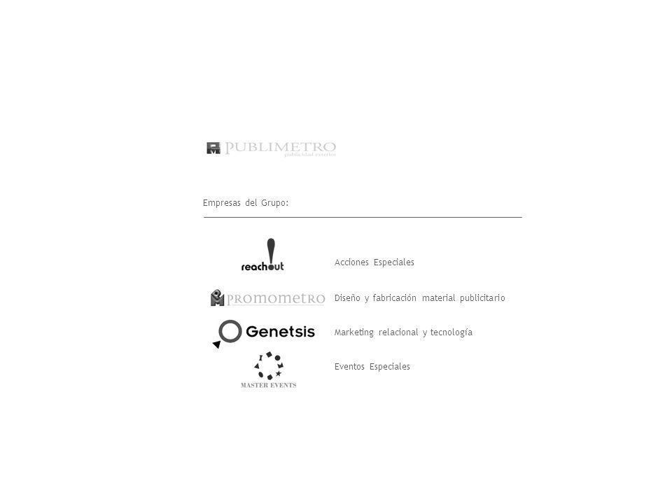 Empresas del Grupo: Acciones Especiales. Diseño y fabricación material publicitario. Marketing relacional y tecnología.