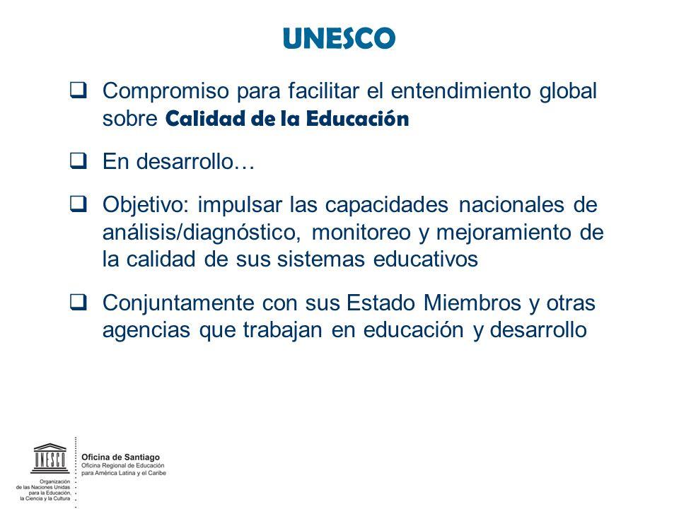 UNESCO Compromiso para facilitar el entendimiento global sobre Calidad de la Educación. En desarrollo…