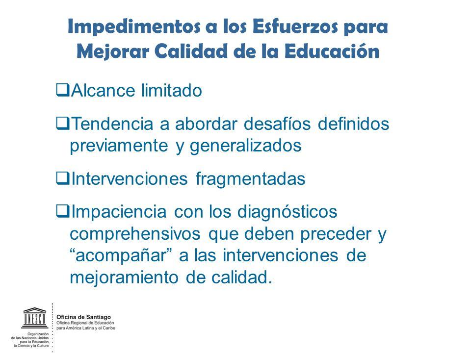 Impedimentos a los Esfuerzos para Mejorar Calidad de la Educación