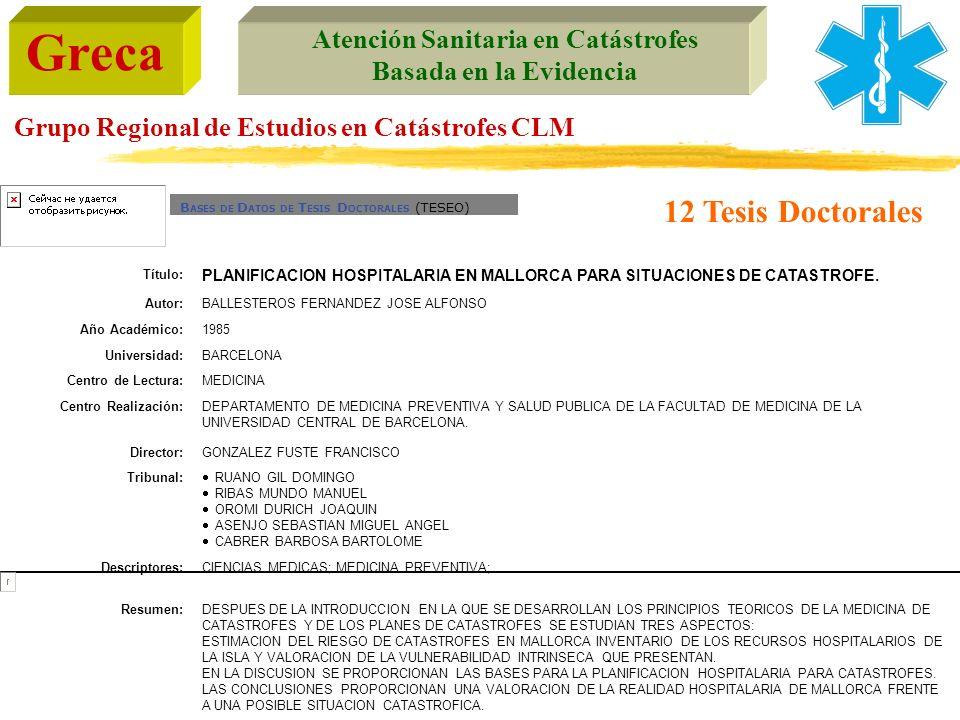 12 Tesis DoctoralesBASES DE DATOS DE TESIS DOCTORALES (TESEO) Título: PLANIFICACION HOSPITALARIA EN MALLORCA PARA SITUACIONES DE CATASTROFE.