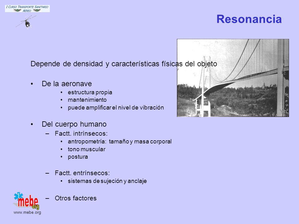 Resonancia Depende de densidad y características físicas del objeto