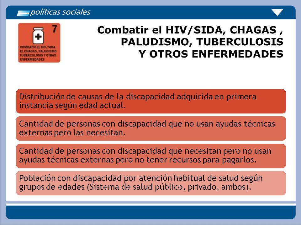 Combatir el HIV/SIDA, CHAGAS , PALUDISMO, TUBERCULOSIS Y OTROS ENFERMEDADES