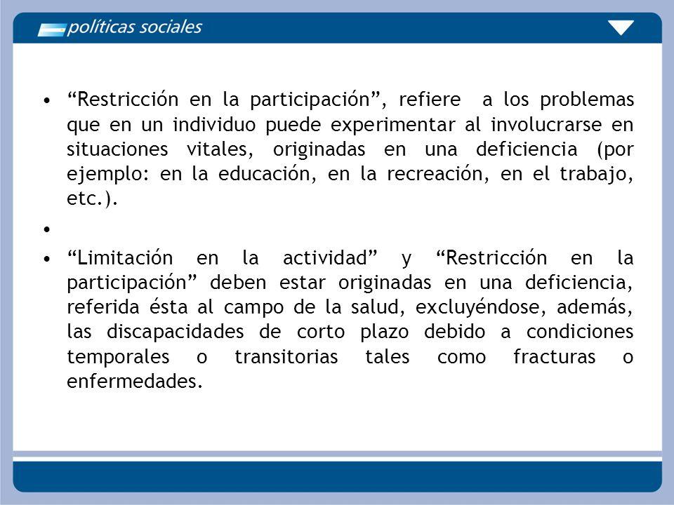 Restricción en la participación , refiere a los problemas que en un individuo puede experimentar al involucrarse en situaciones vitales, originadas en una deficiencia (por ejemplo: en la educación, en la recreación, en el trabajo, etc.).