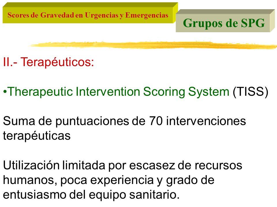 Grupos de SPG II.- Terapéuticos: Therapeutic Intervention Scoring System (TISS) Suma de puntuaciones de 70 intervenciones terapéuticas.