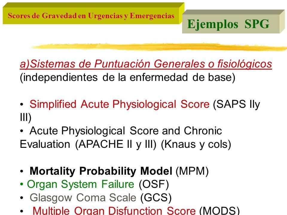 Ejemplos SPG a)Sistemas de Puntuación Generales o fisiológicos