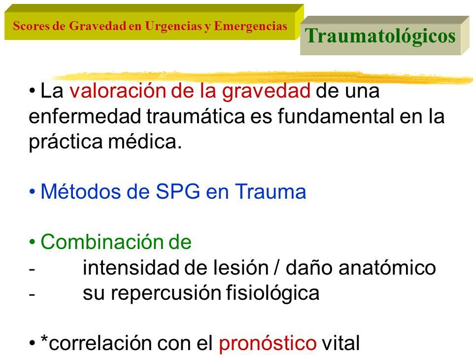Traumatológicos La valoración de la gravedad de una enfermedad traumática es fundamental en la práctica médica.