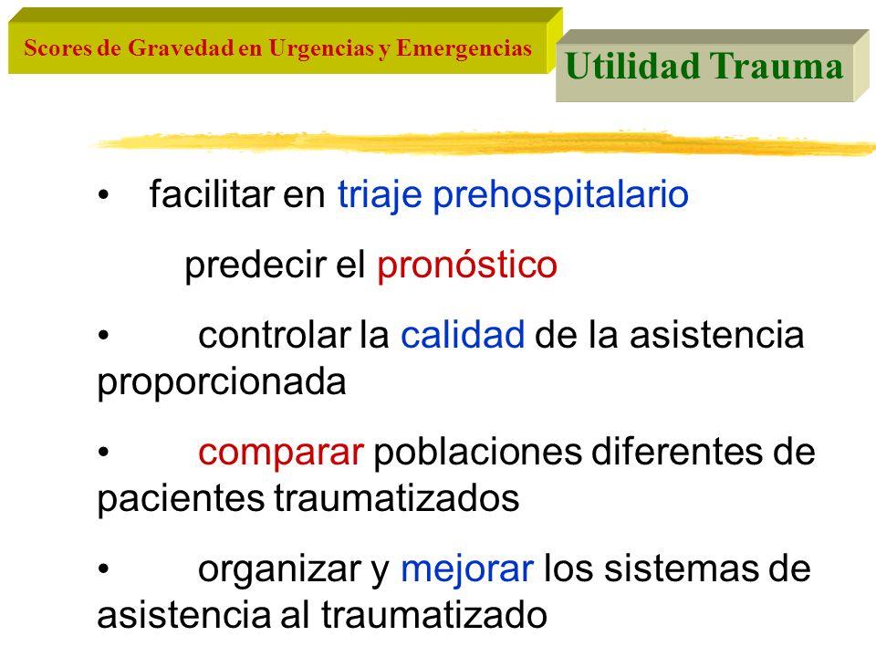 Utilidad Trauma facilitar en triaje prehospitalario. predecir el pronóstico.