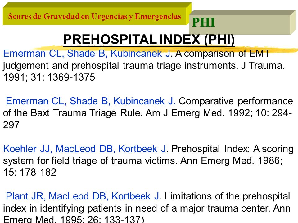 PREHOSPITAL INDEX (PHI)