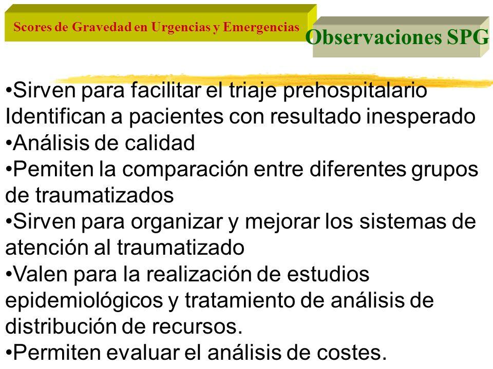 Observaciones SPG Sirven para facilitar el triaje prehospitalario. Identifican a pacientes con resultado inesperado.