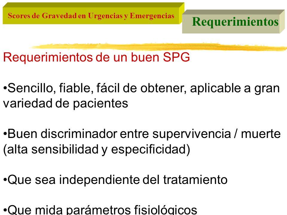Requerimientos Requerimientos de un buen SPG. Sencillo, fiable, fácil de obtener, aplicable a gran variedad de pacientes.