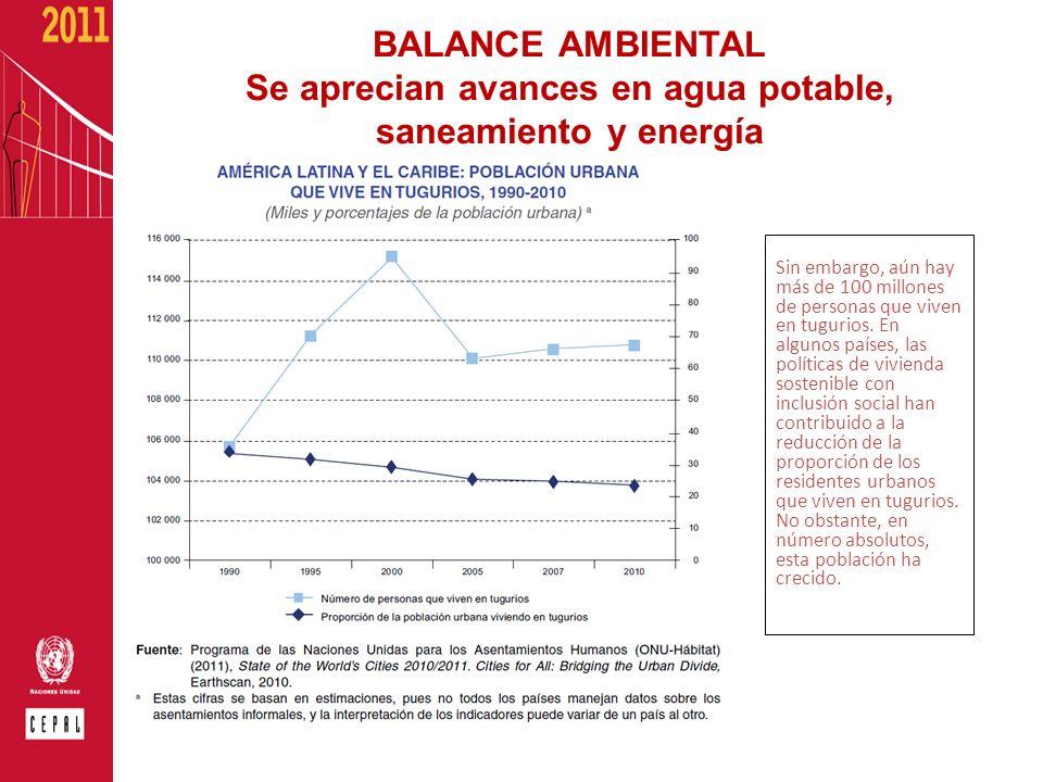 BALANCE AMBIENTAL Se aprecian avances en agua potable, saneamiento y energía