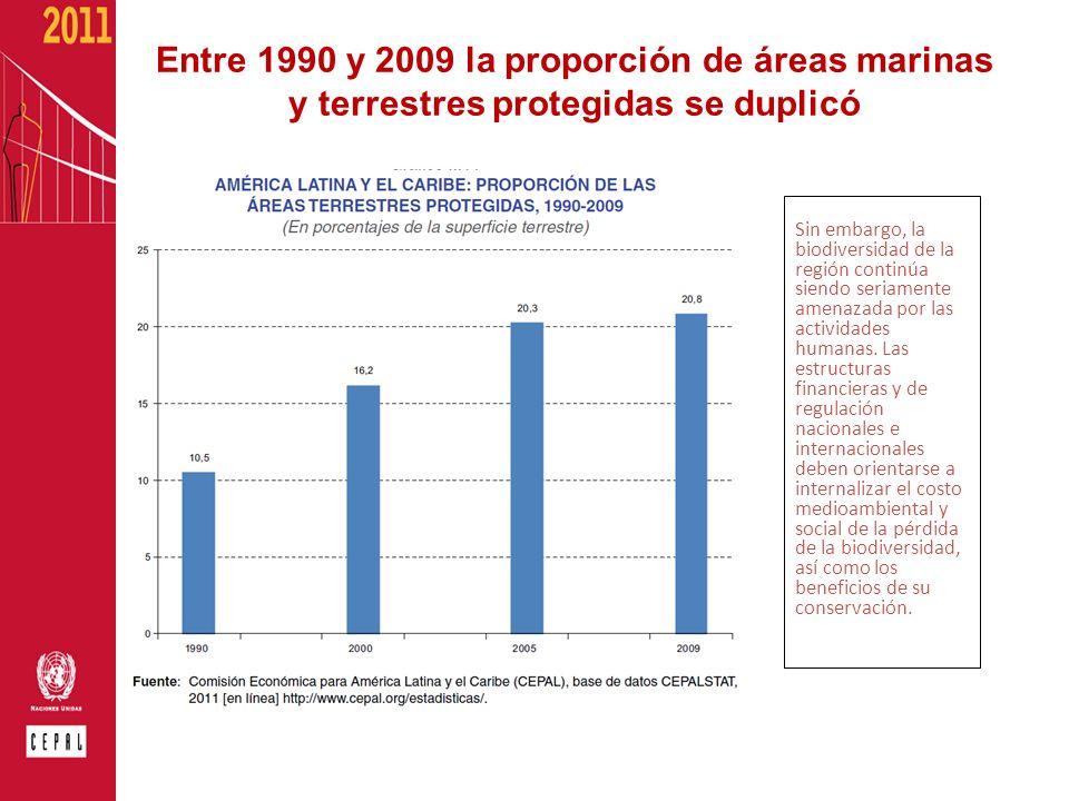 Entre 1990 y 2009 la proporción de áreas marinas y terrestres protegidas se duplicó