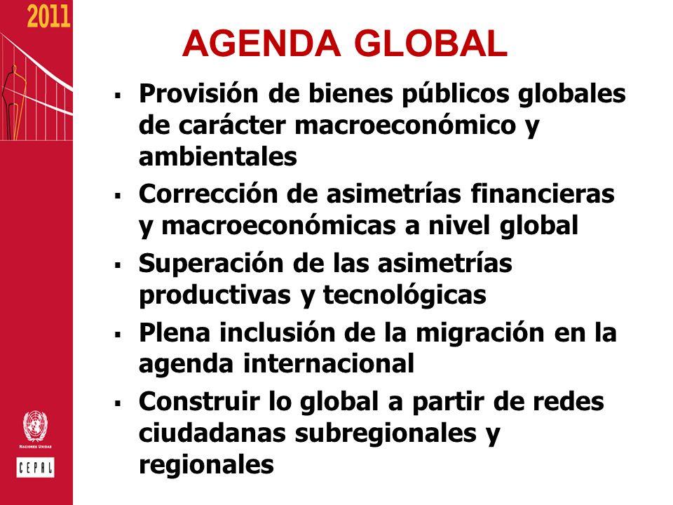 AGENDA GLOBAL Provisión de bienes públicos globales de carácter macroeconómico y ambientales.