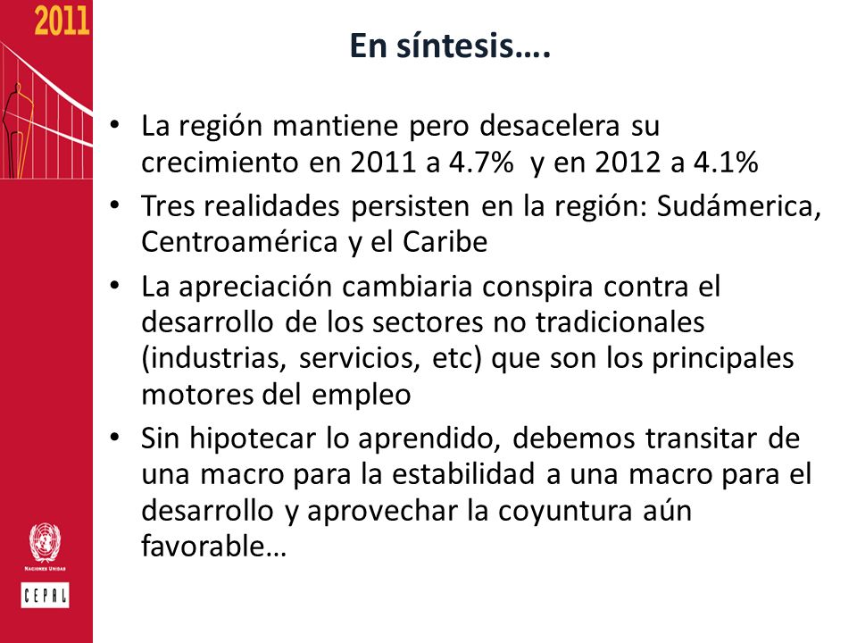 En síntesis….La región mantiene pero desacelera su crecimiento en 2011 a 4.7% y en 2012 a 4.1%
