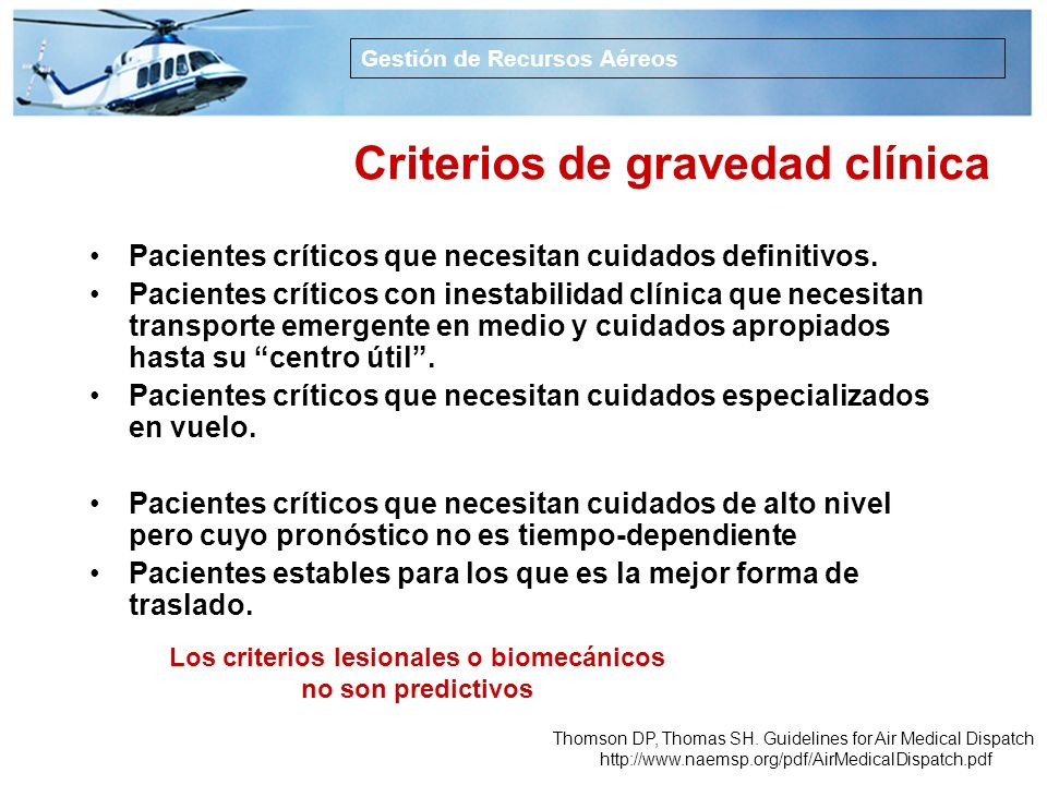 Criterios de gravedad clínica