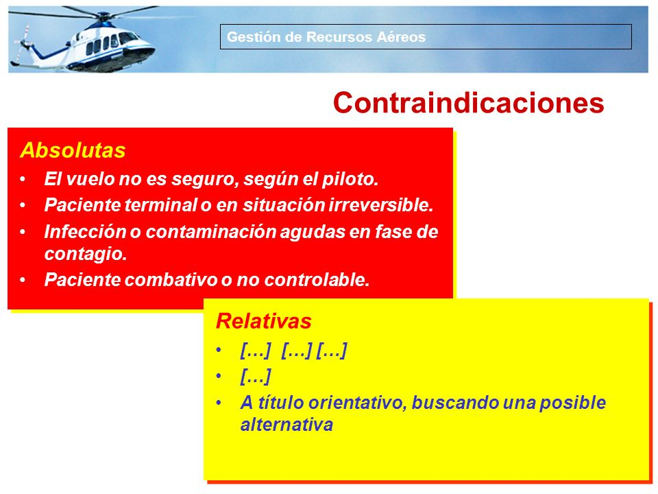 Contraindicaciones Absolutas Relativas