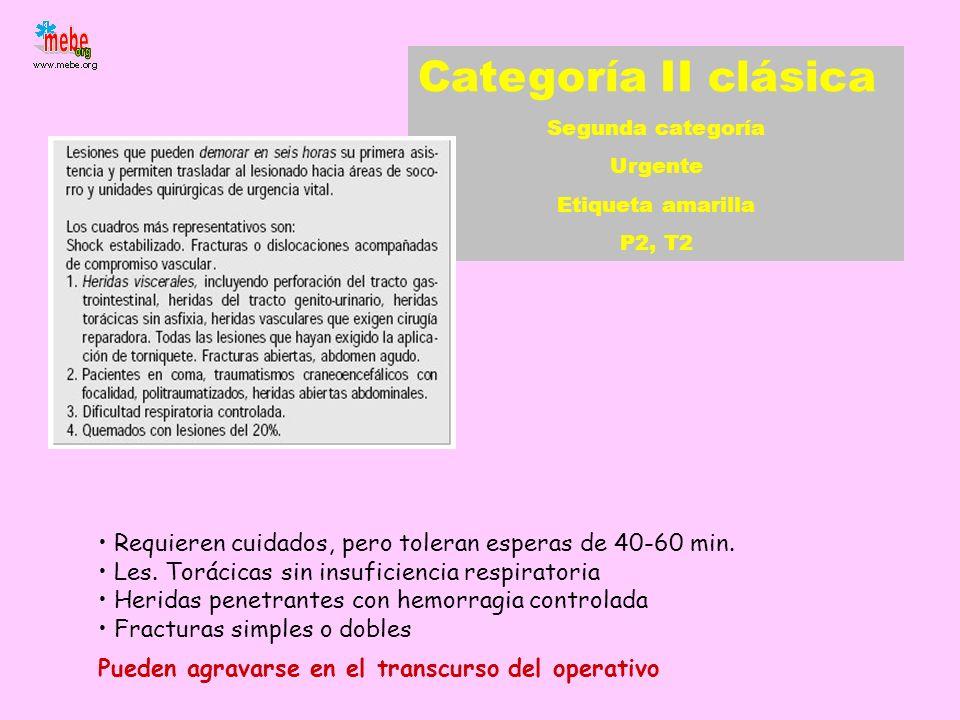 Categoría II clásica Segunda categoría. Urgente. Etiqueta amarilla. P2, T2. Requieren cuidados, pero toleran esperas de 40-60 min.