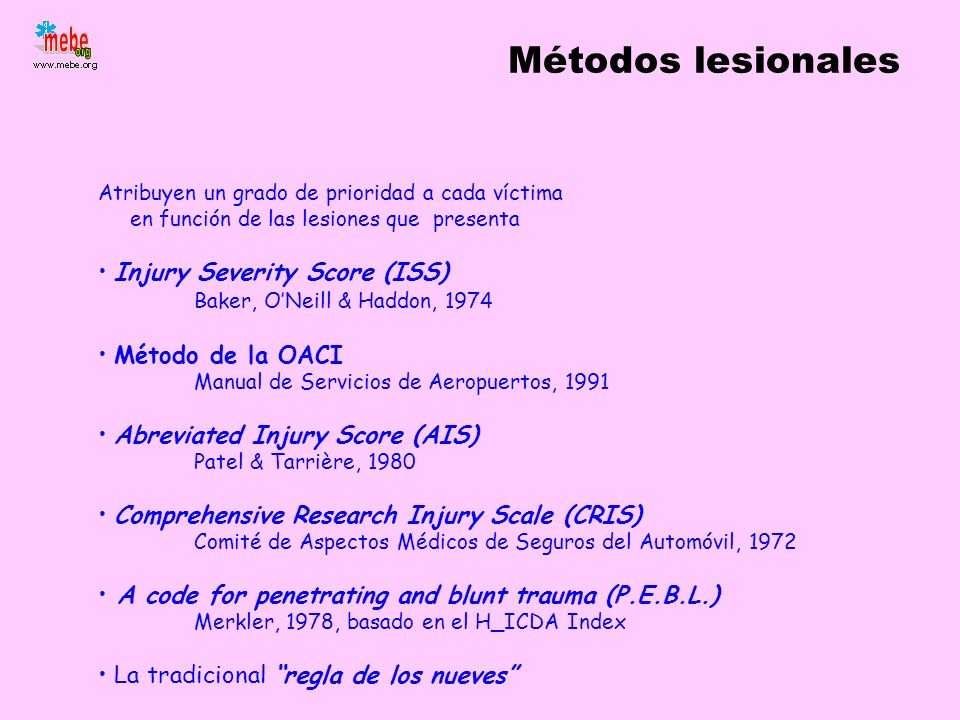 Métodos lesionales Injury Severity Score (ISS)