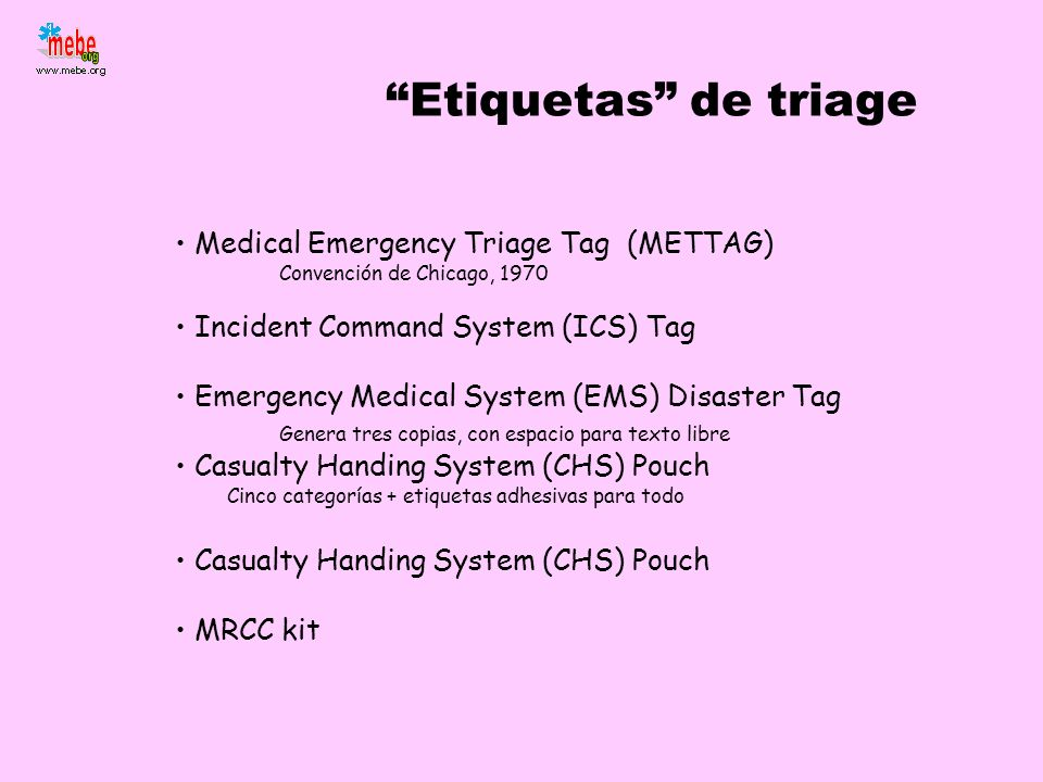 Etiquetas de triage Medical Emergency Triage Tag (METTAG)