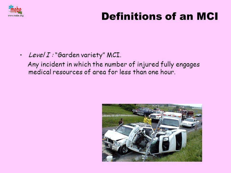 Definitions of an MCI Level I : Garden variety MCI.