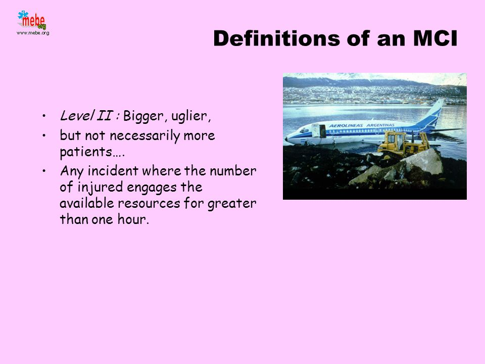 Definitions of an MCI Level II : Bigger, uglier,
