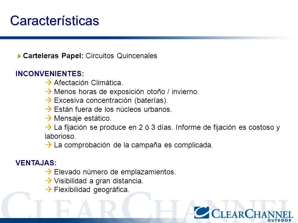 Características Carteleras Papel: Circuitos Quincenales