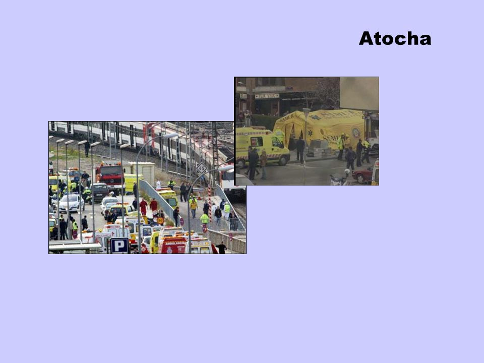 Atocha7:39, the first bomb explodes whit the train open-doors in a crowded station.