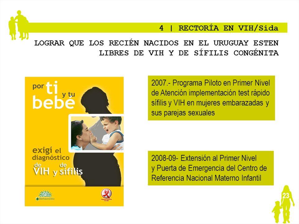 4 | RECTORÍA EN VIH/Sida LOGRAR QUE LOS RECIÉN NACIDOS EN EL URUGUAY ESTEN LIBRES DE VIH Y DE SÍFILIS CONGÉNITA.