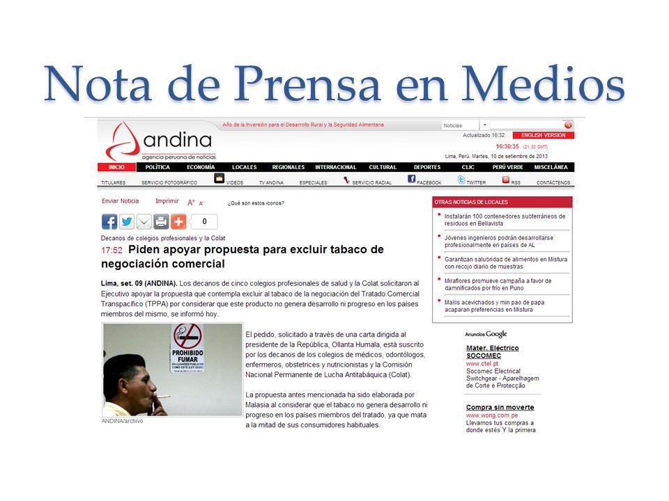 Nota de Prensa en Medios