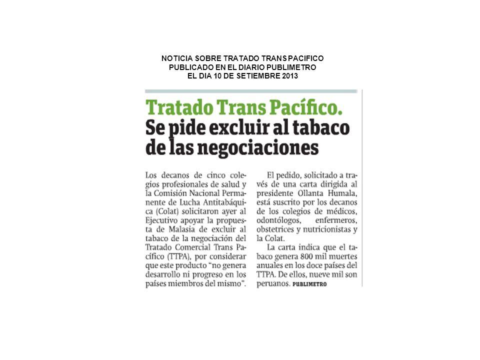 NOTICIA SOBRE TRATADO TRANS PACIFICO PUBLICADO EN EL DIARIO PUBLIMETRO