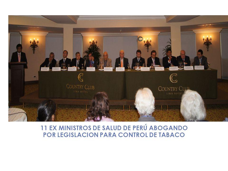 11 EX MINISTROS DE SALUD DE PERÚ ABOGANDO POR LEGISLACION PARA CONTROL DE TABACO