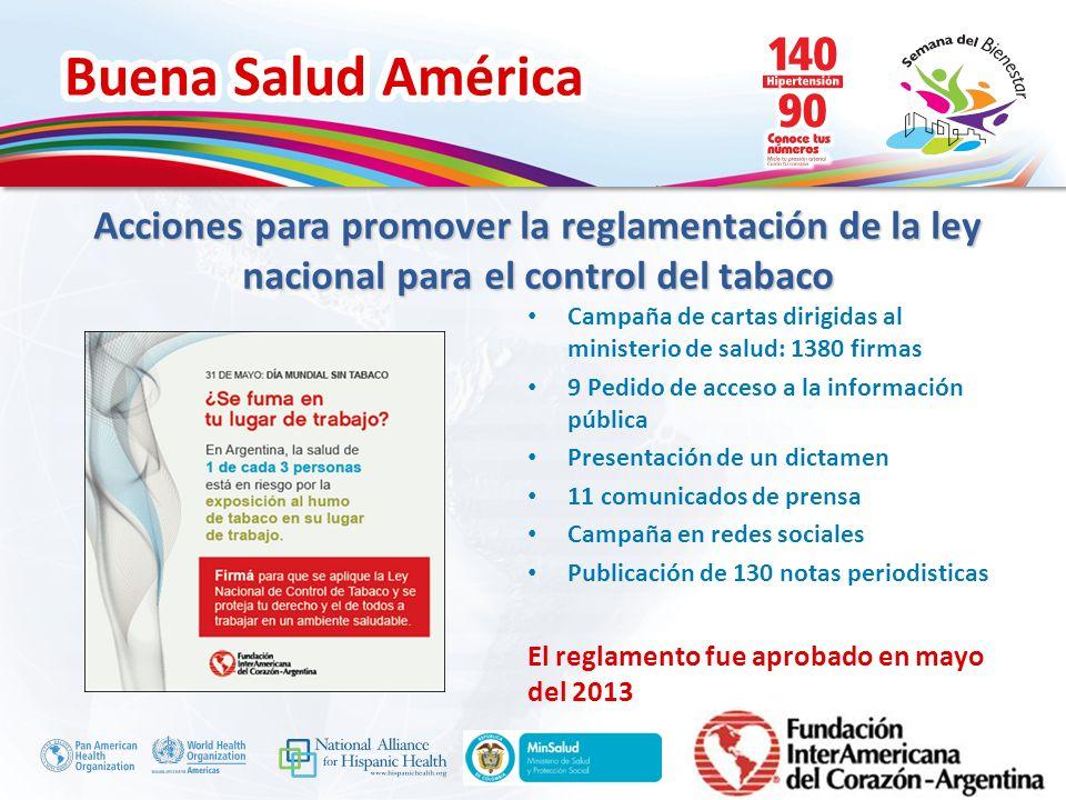 Acciones para promover la reglamentación de la ley nacional para el control del tabaco