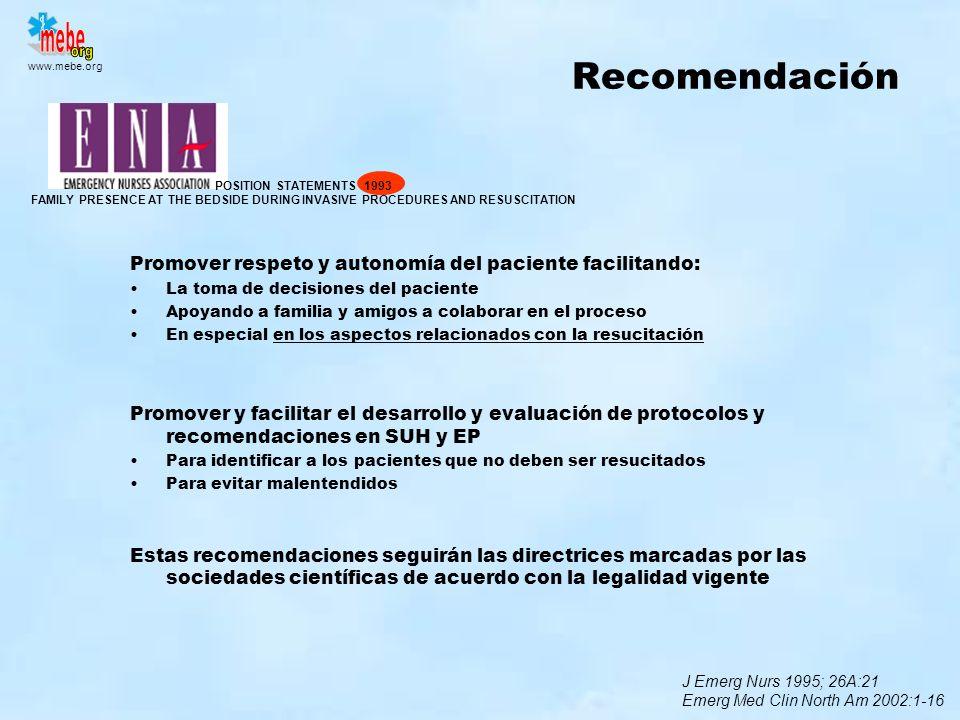 Recomendación Promover respeto y autonomía del paciente facilitando: