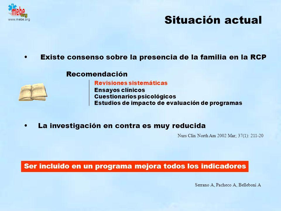 Situación actual Existe consenso sobre la presencia de la familia en la RCP. Recomendación. Revisiones sistemáticas.