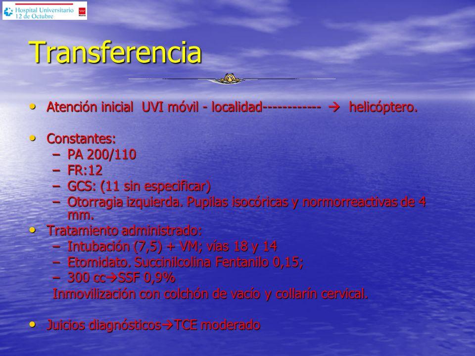 Transferencia Atención inicial UVI móvil - localidad------------  helicóptero. Constantes: PA 200/110.
