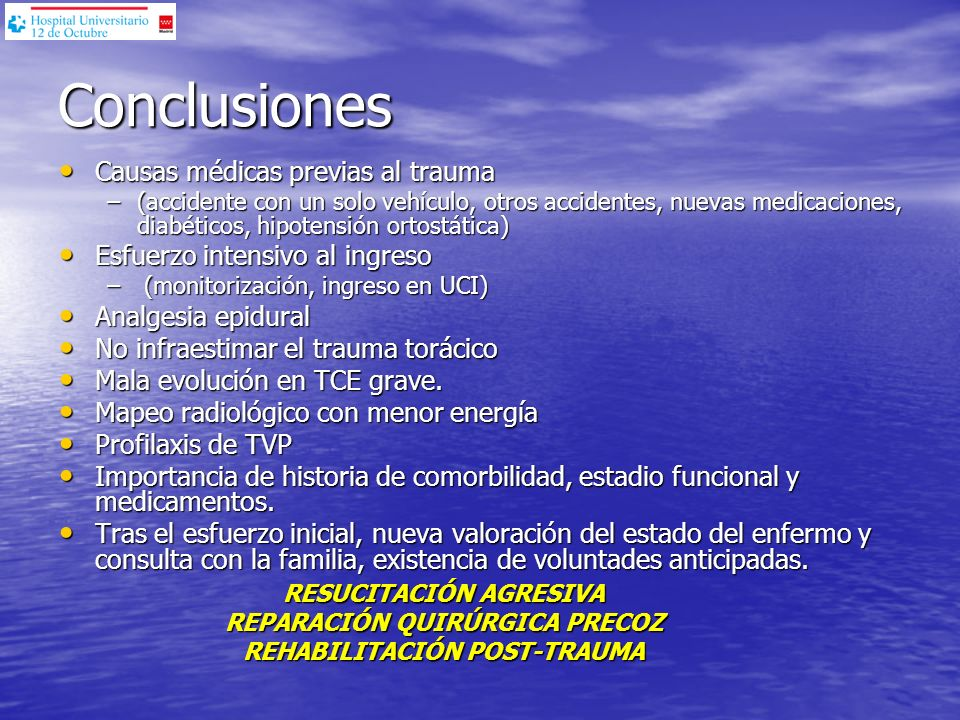 Conclusiones Causas médicas previas al trauma
