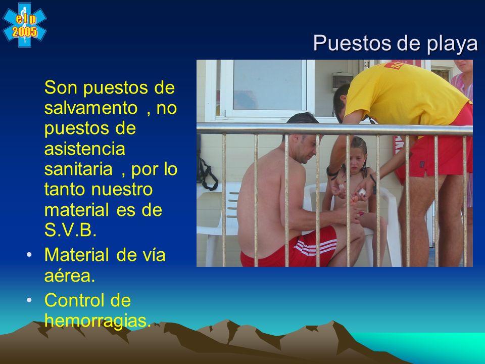 Puestos de playaSon puestos de salvamento , no puestos de asistencia sanitaria , por lo tanto nuestro material es de S.V.B.