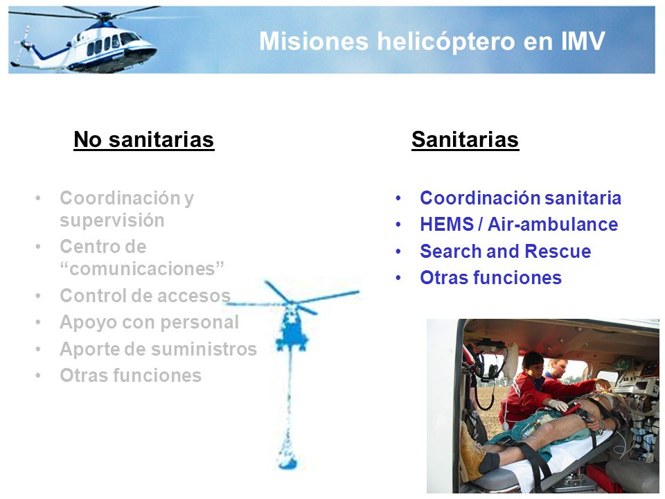 Misiones helicóptero en IMV