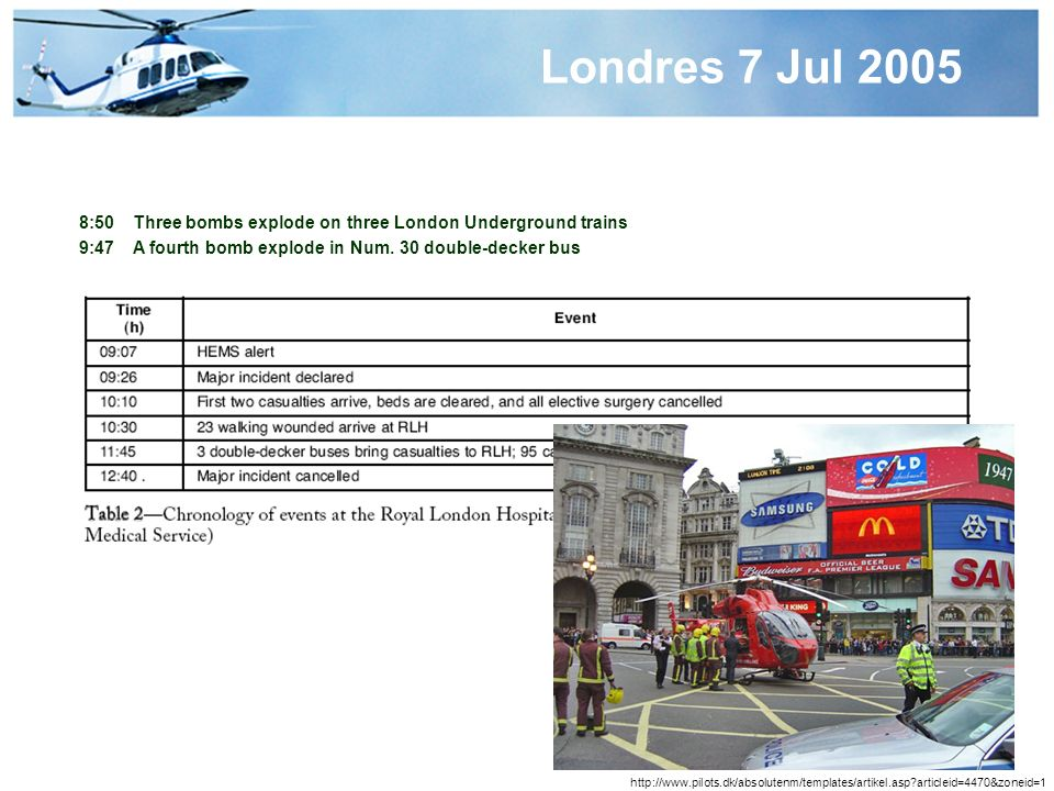 Londres 7 Jul 2005 8:50 Three bombs explode on three London Underground trains. 9:47 A fourth bomb explode in Num. 30 double-decker bus.