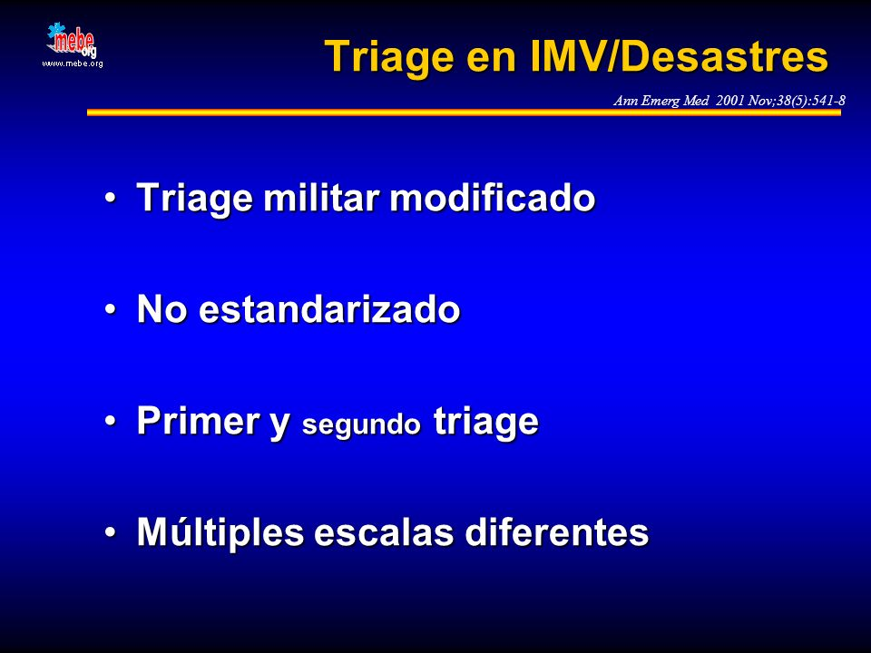 Triage en IMV/Desastres