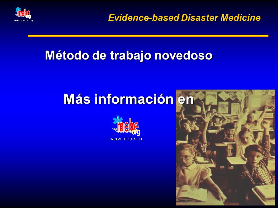 Evidence-based Disaster Medicine