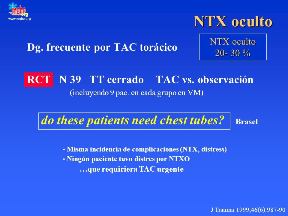 NTX oculto Dg. frecuente por TAC torácico